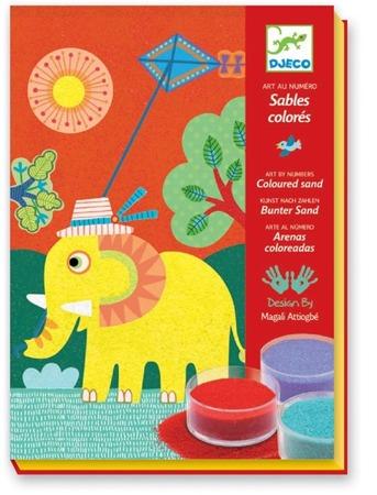"""Zestaw artystyczny z piaskiem """"W powietrzu"""" - zestaw plastyczny dla dzieci do kolorowania sypkim piaskiem, DJECO"""