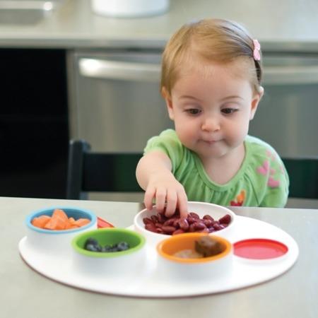 Zestaw do jedzenia Palette Plate - talerz dzielony dla dzieci + 4 zamykane miseczki i sztućce, SKIP HOP