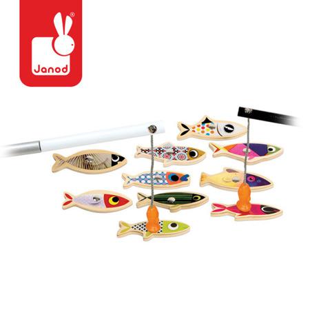 Zestaw do łowienia magnetyczny drewniany 10 rybek Sardynka, JANOD
