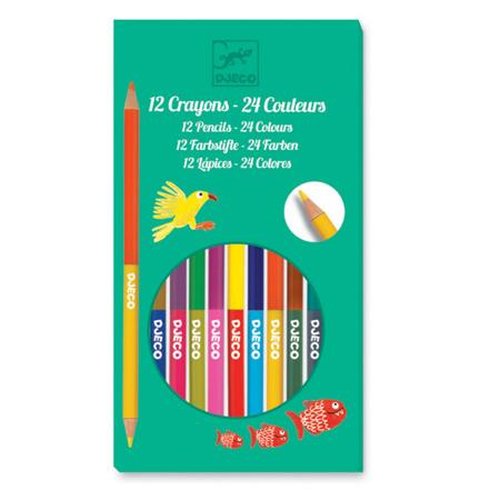 Zestaw dwustronne kredki - kredki w żywych kolorach, 12 sztuk, 24 kolory DJ09758