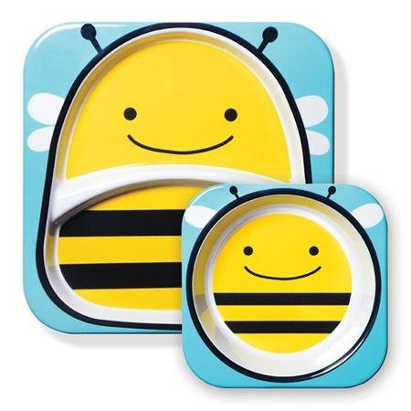 Zestaw jedzeniowy dla dzieci talerz dzielony + miska - naczynia dla maluchów Zoo Pszczoła, SKIP HOP