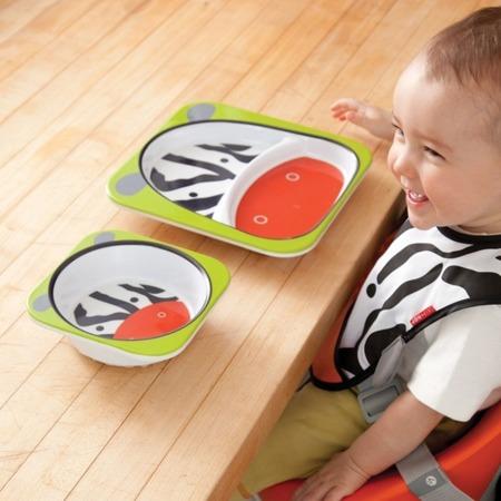 Zestaw jedzeniowy dla dzieci talerz dzielony + miska - naczynia dla maluchów  Zoo Zebra, SKIP HOP