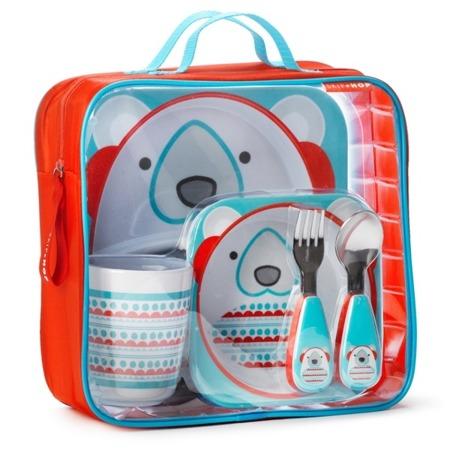 Zestaw jedzeniowy dla dzieci w walizeczce - miseczka, talerzyk, kubek, łyżka i widelec, Zoo Winter Miś Polarny, SKIP HOP