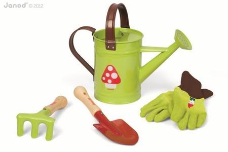 """Zestaw ogrodowy dla dziecka - """"Mały ogrodnik"""" zestaw z konewką zielony, Janod"""